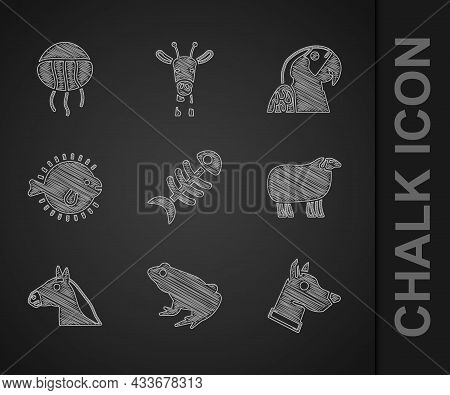 Set Fish Skeleton, Frog, Dog Head, Sheep, Horse, Puffer Fish, Macaw Parrot And Jellyfish Icon. Vecto