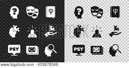 Set Head With Question Mark, Comedy And Tragedy Masks, Psychology Book, Psi, Psychology, , Rorschach
