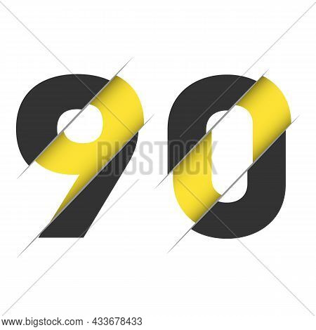 90 9 0 Number Logo Design With A Creative Cut And Black Circle Background. Creative Logo Design.