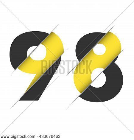 98 9 8 Number Logo Design With A Creative Cut. Creative Logo Design.