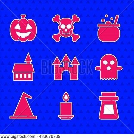 Set Castle, Burning Candle, Bottle With Potion, Ghost, Witch Hat, Halloween Witch Cauldron And Pumpk