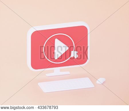 The Button For Viewing Videos On The Computer. 3d Rendering.