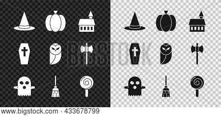 Set Witch Hat, Pumpkin, Castle, Ghost, Witches Broom, Lollipop, Coffin With Cross And Owl Icon. Vect