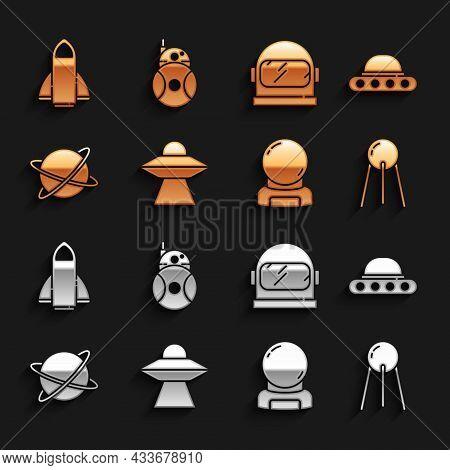 Set Ufo Flying Spaceship, Satellite, Astronaut Helmet, Satellites Orbiting The Planet, Rocket And Ro