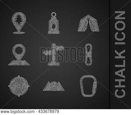 Set Road Traffic Signpost, Mountains, Carabiner, Climber Rope, Wind Rose, Location, Tourist Tent And