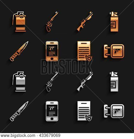 Set Shop Weapon In Mobile App, Weapons Oil Bottle, Hunting Shop, Firearms License Certificate, Milit