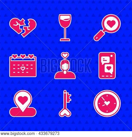 Set Couple In Love, Key Heart Shape, Clock With, Mobile, Location, Calendar, Search And And Broken O