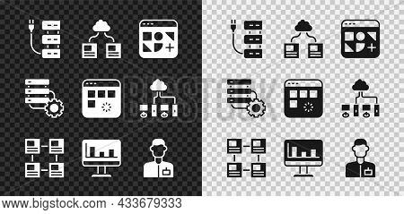 Set Server, Cloud Technology Data Transfer, Different Files, Hierarchy Organogram Chart, Monitor Wit
