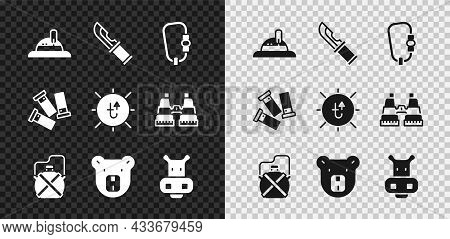 Set Hunter Hat, Knife, Carabiner, Canteen Water Bottle, Bear Head, Hippo Or Hippopotamus, Cartridges