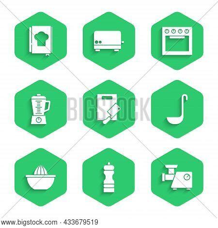 Set Cutting Board And Meat Chopper, Pepper, Kitchen Grinder, Ladle, Citrus Fruit Juicer, Blender, Ov