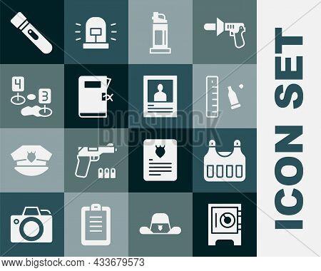 Set Safe, Bulletproof Vest, Casing With Ruler, Pepper Spray, Police Station Folder, Marker Crime Sce