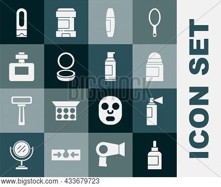 Set Cream Or Lotion Cosmetic Tube, Perfume, Antiperspirant Deodorant Roll, Mascara Brush, Makeup Pow