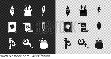 Set Wizard Warlock, Magician Hat And Rabbit Ears, Feather, Bottle With Love Potion, Eye, Witch Cauld