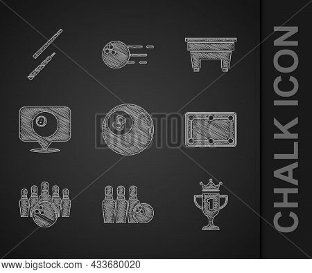 Set Billiard Ball, Bowling Pin And, Award Cup, Table, Location With Billiard, And Cue Icon. Vector