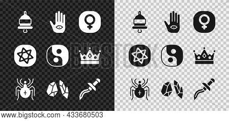Set Ringing Alarm Bell, Hamsa Hand, Venus, Spider, Magic Stone, Dagger, Tarot Cards And Yin Yang Ico