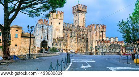 Most beautiful medieval castles of Italy. Rocca Scaligero in Sirmione. Lake Lago di Garda, Lombardia