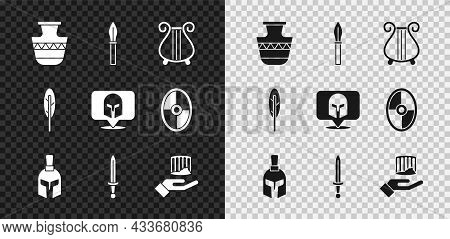 Set Ancient Amphorae, Medieval Spear, Lyre, Greek Helmet, Sword, Column, Feather Pen And Icon. Vecto