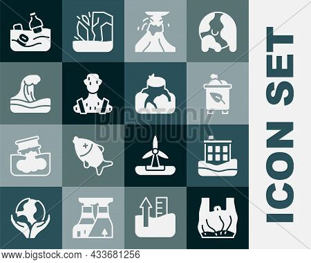 Set Say No To Plastic Bags Poster, House Flood, Recycle Bin With Recycle, Volcano Eruption Lava, Hig