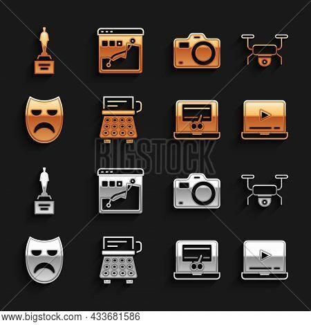 Set Retro Typewriter, Drone Flying, Online Play Video, Video Recorder Laptop, Drama Theatrical Mask,