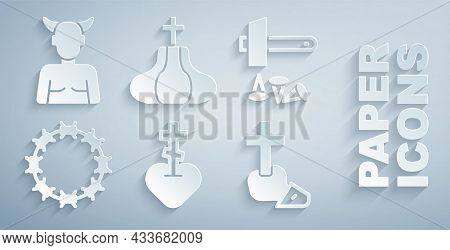 Set Religious Cross In Heart, Crucifixion Of Jesus Christ, Crown Thorns, Christian, Church Tower And