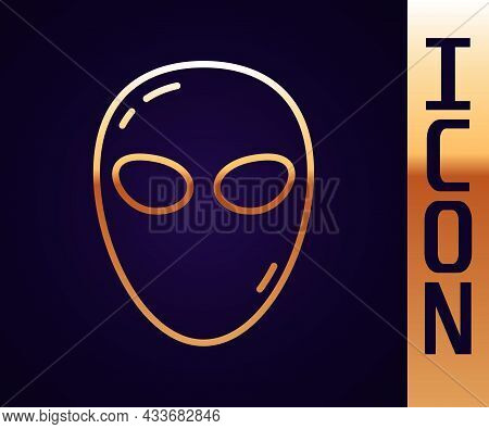 Gold Line Alien Icon Isolated On Black Background. Extraterrestrial Alien Face Or Head Symbol. Vecto