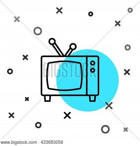Black Line Retro Tv Icon Isolated On White Background. Television Sign. Random Dynamic Shapes. Vecto