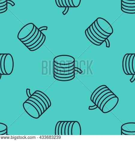Black Line Plastic Filament For 3d Printing Icon Isolated Seamless Pattern On Green Background. Vect