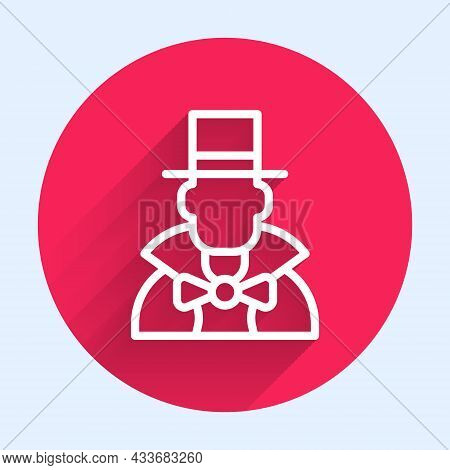 White Line Magician Icon Isolated With Long Shadow. Red Circle Button. Vector