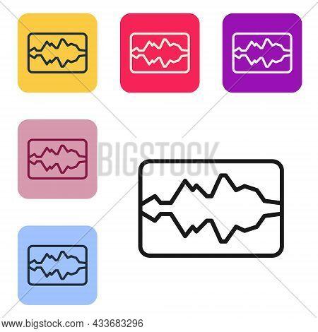 Black Line Music Wave Equalizer Icon Isolated On White Background. Sound Wave. Audio Digital Equaliz