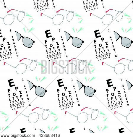 Ophthalmology Seamless Pattern With Optical Eyes Test And  Eyeglasses.