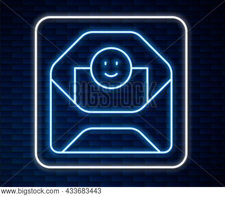 Glowing Neon Line Envelope With Valentine Heart Icon Isolated On Brick Wall Background. Message Love