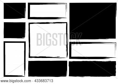Ink Rectangle And Square Icon. Empty And Filled. Geometric Figures. Freehand Picture. Vector Illustr