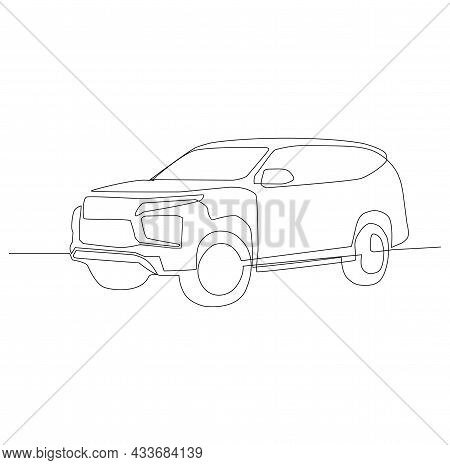 Continuous Line Drawing Of Modern Powerful Luxury Suv Car