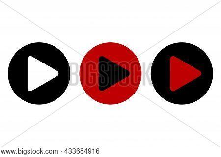 Play Icon Set. Play Button On White Backdrop. Sound Symbol. Right Arrow. Arrow Icon. Vector Illustra