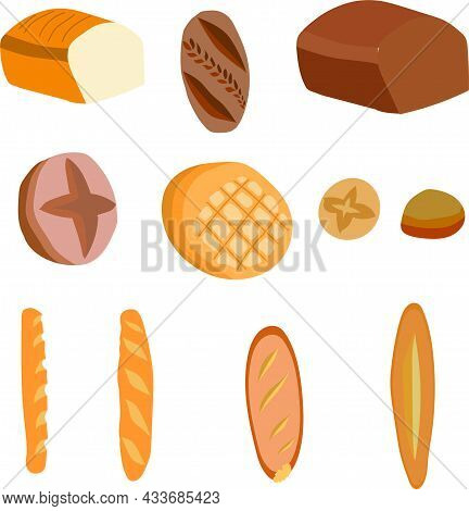 Baking, Set, Buns, Bread, Loaves, Baguettes, Flat Cakes, Rye And Wheat. Round, Square And Oval. Vect