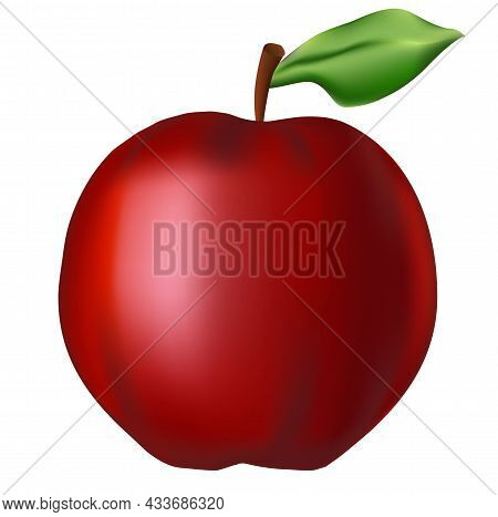 Big Red Apple. Realism Style. Vector Stock Illustration Isolated On White Background.