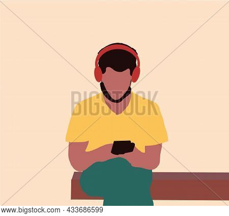 Man Wearing Face Sitting In Public Park Using Smartphone And Headphones. Flat Design Vector