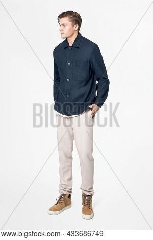 Man in navy blue shirt and pants casual wear fashion full body