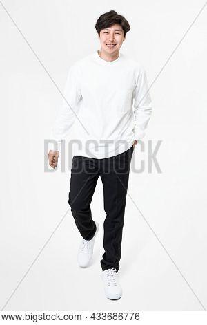 White long sleeve tee menrsquo;s casual apparel