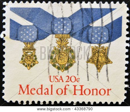 stamp printed in USA shows medal of honour