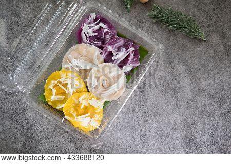 Steamed Banana Cake, Steamed Pumpkin Cake And Steamed Purple Sweet Potato Cake Set In Box, Thai Dess