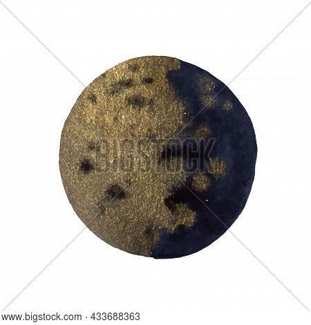 Golden Add Indigo Watercolor Abstract Shape Isolated On White Background.