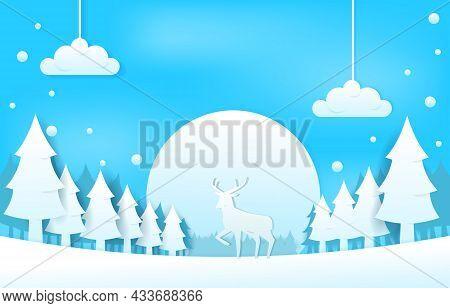 Snow Deer Pine Trees Winter Papercut Paper Cut Style Illustration