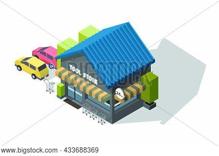 Isometric Illustration Tool Shop With Parking Lot With Shopping Carts For Customer Service Isolated