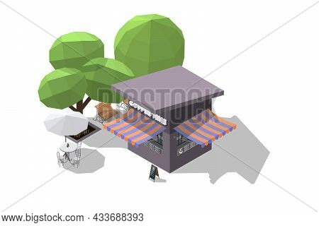 Isometric Coffee Shop Or Small Garden Cafe And Bench To Sit And Wait 3d Model Of A Coffee Shop And O