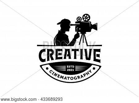 Silhouette Cameraman Logo. Video, Movie, Film, Cinematography Illustration Design Template Inspirati