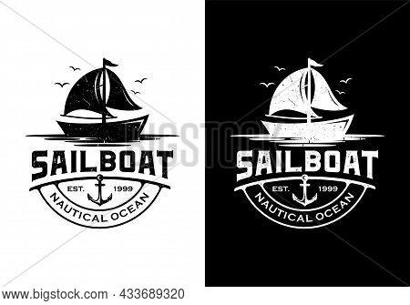 Vintage Retro Sailboat Marine Logo Design Inspiration Template