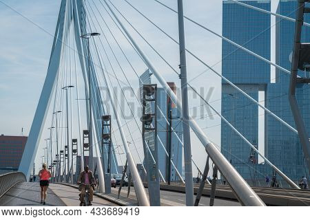Rotterdam Netherlands - August 23 2017; Architectural Leading Converging Lines Of Structural Cables