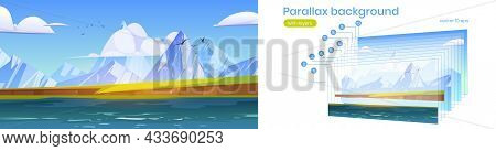 Parallax Background, Ocean Or Sea View With Mountains And Gulls In Cloudy Sky. Scenery Nature Landsc