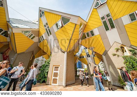 Rotterdam Netherlands - August 22 2021; Yellow Exteriors And Shapes And Propped Up Look Of Cubic Hou
